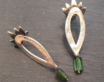Stud earrings with green tourmaline