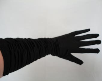 Vintage Black Stretch Nylon Satin Ruched Back Elbow Gloves - Up to Size 8 - Ideal Wedding/Prom/Burlesque  - Two Pairs Available