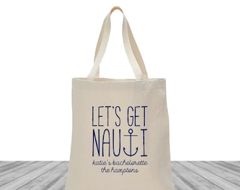 Welcome Bags, Tote Bags, Wedding Bags, Custom Totes, Bachelorette Bags, Let's Get Nauti, Anchor Tote, Bachelorette Totes, 1501
