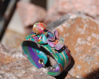 "Sale -  Polymer Clay Bracelet - ""Morning Blossoms"""