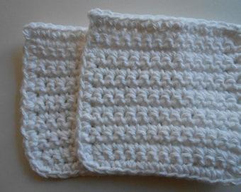 White Crochet Cotton Face Cloths Set of Two