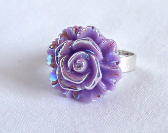 Lavender Rose Ring; Rainbow Rose Ring; Light Purple Rose Ring; Rose Jewelry; Handmade Rose Ring; Purple Rose Ring; Adjustable Ring