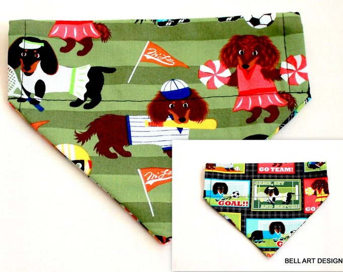 SPORTS ~ Over the Collar ~ Reversible ~ Dog Pet Bandana ~ Bell Art Designs ~ Extra Small ~ DCXS0128