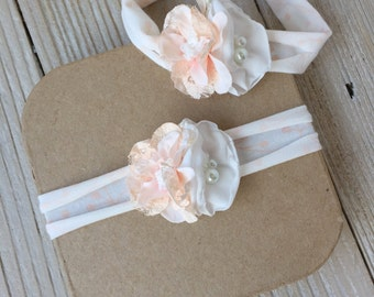 Blush Pink Peach and White Newborn Stretch Headband for Baby Girl - Newborn to 6 months - Ready to Ship