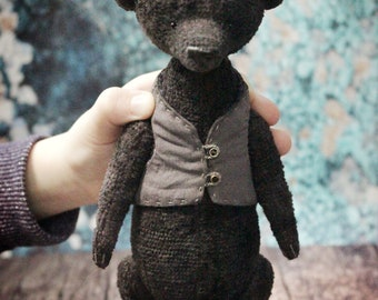 Artist Teddy bear OOAK Old style Brown teddy bear Vintage plush Small teddy bear Handmade teddy bear Collectible bear old fashioned bear