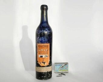 Vintage Ink Bottle with Label, Glass ink bottle, French antique ink.