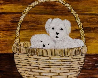 Puppies in a basket - 6 x 6