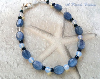 Kyanite Bracelet with Opalite Beaded Jewelry Unique Gemstone Bracelet Blue Jewelry Women's Gift for Her Fashion Jewelry Gift Idea