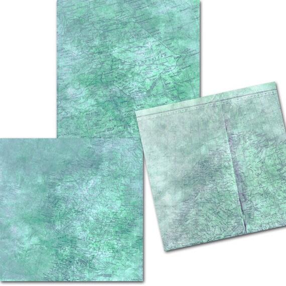 Digital Scrapbook Papermap Digital Paper Blue Map Digital Paper