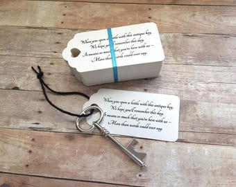 """Wedding Favors for Guests - Skeleton Key BOTTLE OPENERS + """"Poem"""" Thank-You Tags – Ships from USA - Antique Silver - Eliza Style"""