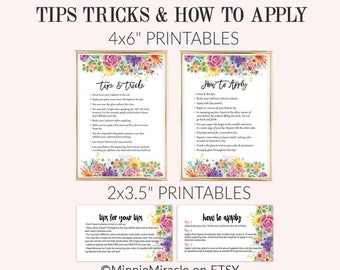 Lipsense Tips and Tricks, Floral, Senegence Tips, LipSense How To Apply, purple, green, pink, watercolor, Business Card size, 3.5x2 & 4x6