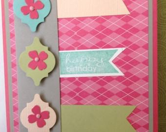 Handmade Birthday Card- birthday-handmade- feminine- Happy Birthday