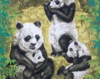 Vintage Hawaiian Barkcloth Bamboo Panda Bear Fabric Panel 22x42
