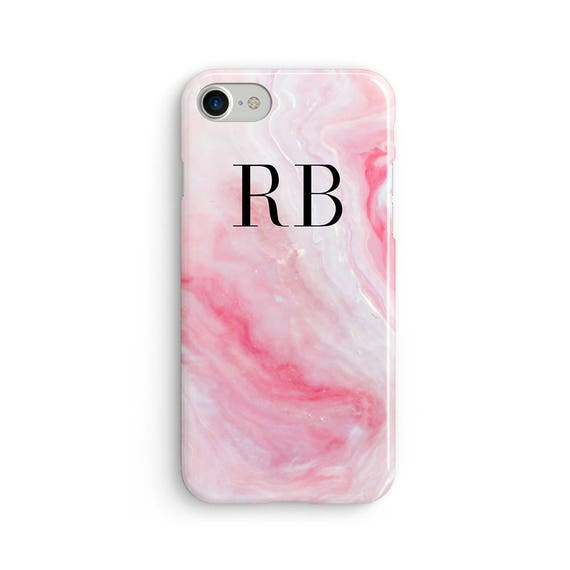Custom initial marble pink  iPhone X case - iPhone 8 case - Samsung Galaxy S8 case - iPhone 7 case - Tough case 1P025