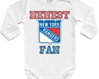 New York rangers Newest fan, NHL Baby Vest Baby Bodysuit Funny Baby Child One Piece boy's girl's Clothing girl Kid's Shower Bodysuits Top