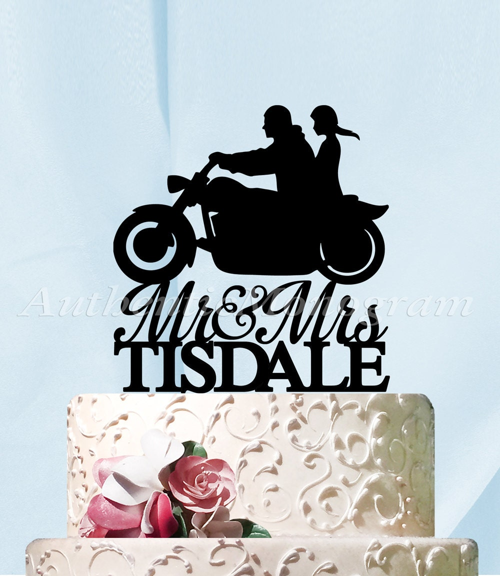 Mr & Mrs Wedding Cake Topper, a Husband and Wife Harley Silhouette ...