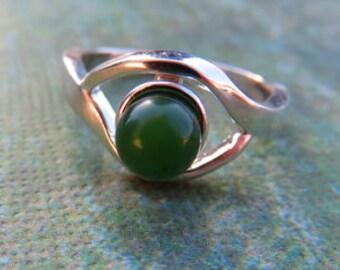 Jade Ring - Jade Gem Ball & Sterling Silver Ring - Jade Ball Ring - Womans Ring Size 8