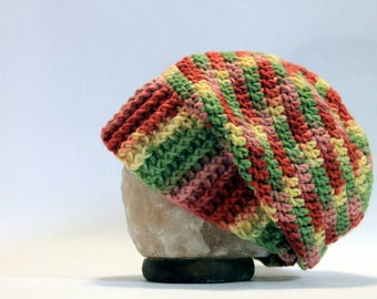 Hand Crocheted Slouch Beanie - Multicolor