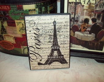 Elegant Paris Cream Eiffel Tower Block Sign,Paris Decor,Paris Bedroom Decor,Paris  Theme