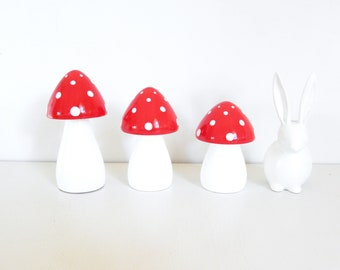 Dreamy Mushrooms - Set of three Red with White stems