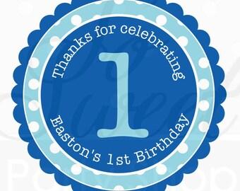 Birthday Favor Sticker Labels - Dark Blue and Light Blue Polkadot - Personalized Birthday Favor Stickers - Set of 24