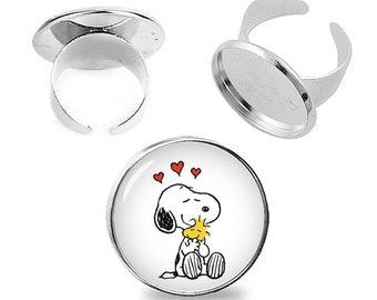 Snoopy and Woodstock Ring Snoopy Adjustable ring Snoopy Jewelry Fanboy Fangirl