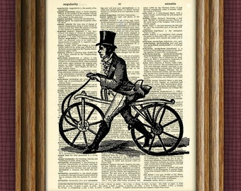 DANDY HORSE bicycle print over an upcycled vintage dictionary page book art
