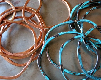 12 Gauge Copper Hoops, 4 Artisan Components, Choice of Finish, Organic Shape Hoops, Made to Order to 1 to 2 Weeks