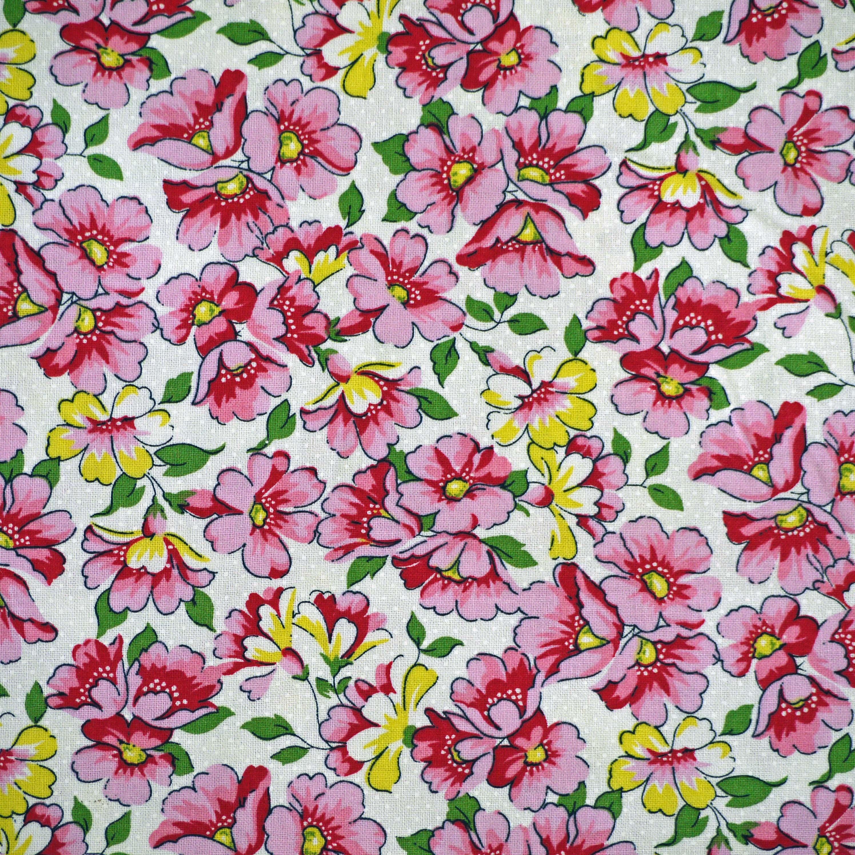 14 12 Yard Cotton Print Pinkyello W Flowers On White