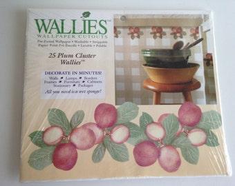 Wallies Wallpaper Cutouts Pfaltzgraff Summer Garden or Plum Cluster Print  25 CT.
