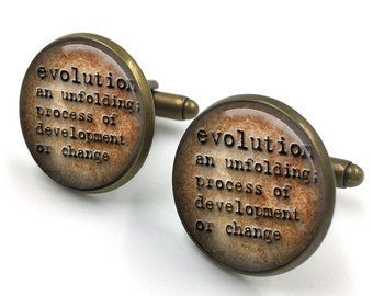 Evolution Dictionary Cuff Links, Dictionary Cufflinks, Dictionary Sayings Jewelry, Evolution, Stamped Jewelry, gift for men, gift for him