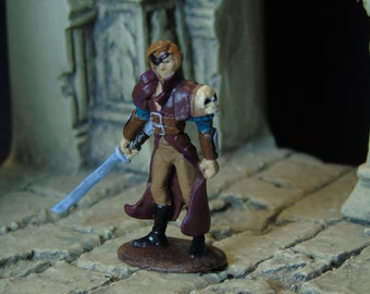 D&D, Pathfinder, Dungeons and Dragons, Male Pirate/Swashbuckler Handpainted Miniature Tabletop Roleplaying, Male Rogue w/ Eyepatch and Sword