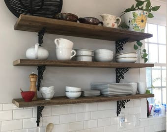 3 barn wood farmhouse kitchen shelves reclaimed industrial hanging shelf display wall art interior design BeachHouseDreamsHomeOBX