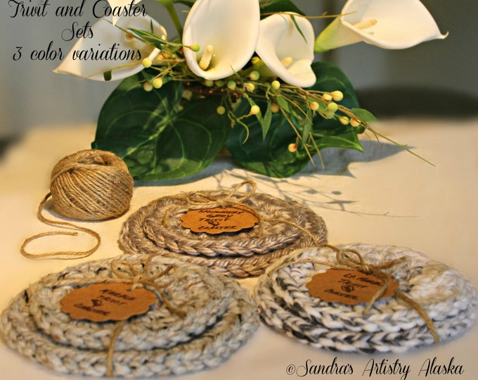 Rustic Chic Trivet and Coaster-2-pc set (3 color options)