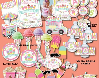 Ice Cream Birthday Party Package-Printable Ice Cream Party Decoration-Ice Cream First Birthday-Popsicle Party-Summer Ice Cream Birthday