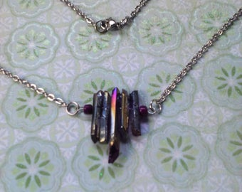 Quartz necklace bar style stainless steel