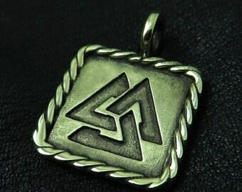 Bronze Valknut pendant
