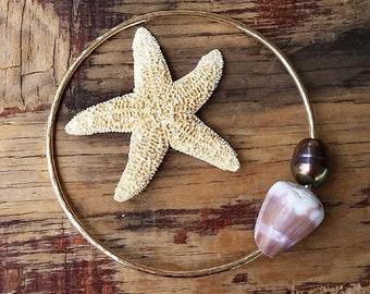 Hawaii Beach Jewelry, Gold Hawaiian Bangle Bracelet, Mermaid Jewelry, Purple Cone Shell and Pearl, Beachy Boho, Ocean Nature Lover Gift