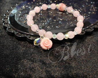 Blest Jewellery -Mother of Pearl Rose , Pink Color Lampwork Beads, Glass Flower Beads, 8mm Round Bead, 6 mm Pink Quartz Freesize bracelet