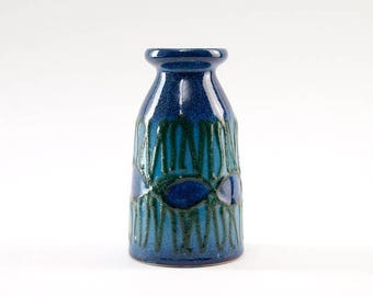 Fat Lava Vase by VEB STREHLA  Vintage from East Germany Turquoise Blue Green
