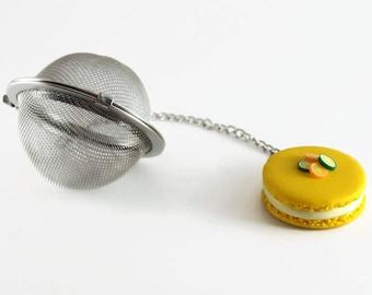 Tea lemon yellow Macaron - polymer clay ball