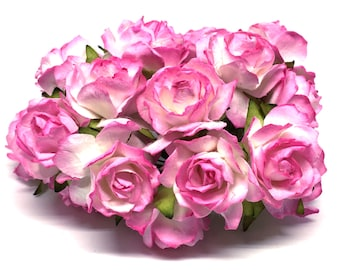 Two Tone Pink Classic Mulberry Paper Roses Cr001