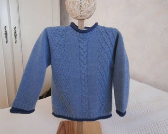 Hand knit sweater wool blue 2 years
