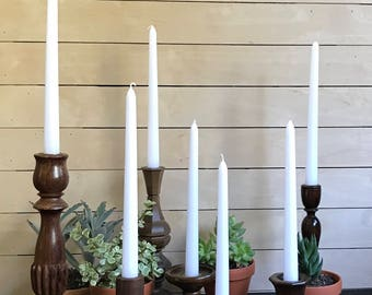 Wood candlesticks / wooden candle holders / vintage wood candlesticks, taper candle holder / small medium large / set of 7