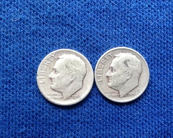 1953 P and D Roosevelt Silver Dimes, Old US Coins for Coin Collecting, 90 percent Silver Dime, Set of 2
