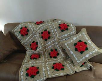 Fancy Framed Poinsettia Blanket and Pillow