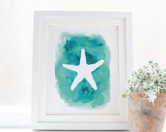 Starfish Artwork, Starfish Decor, Nursery Sea Art, Beach House Print Vacation Home Art, Sea Star Prints, Downloadable Art, Starfish Wall Art