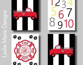 Fire Truck Wall Art Boys Room Prints Firefighter Fireman