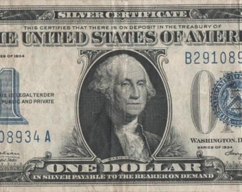 """1934 """"Funny Back"""" U.S. Silver Certificate One Dollar Note; Nice VF"""