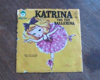 2 Rare Vintage Children's Vinyl Records: TuTu Littl'st Ballerina + Katrina Toy Ballerina 45s w/ Kitsch Ballet Covers/Puppies/Cuteness